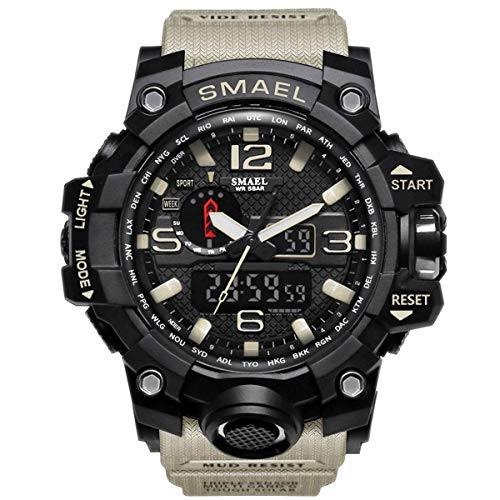 SMAEL Mens Digital Sports Watch Large Face Military Watches Electronic Waterproof Casual LED Stopwatch Alarm Digital Analog Dual Time Outdoor Army Wristwatch