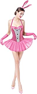 FYMNSI Womens Bunny Costumes Sexy Rabbit Babydoll Cosplay Lingerie Halloween Dress up 3pcs Outfits Clubwear