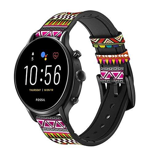 Innovedesire Aztec Tribal Pattern Correa de Reloj Inteligente de Cuero y Silicona para Fossil Wristwatch Tamaño (20mm)