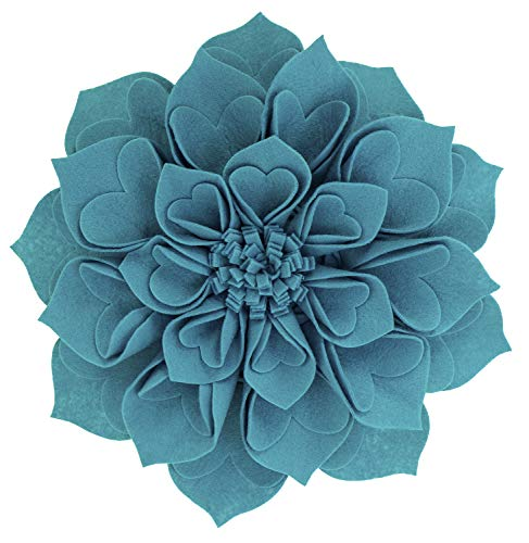 Fennco Styles Handmade 3D Heart-Shaped Petals Flower Decorative Throw Pillow Cover & Insert 16 Inch Round - Teal Floral Pillow for Couch, Home Décor, Bedroom Décor and Holiday, Housewarming Gift