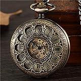 XTQDM Reloj de Bolsillo,Reloj de Bolsillo mecánico de Cuerda Manual Steampunk Vintage para Hombre, Esfera Romana Hueca, Reloj Esqueleto Retro de Bronce, Cadena, Relojes de Bolsillo, Reloj