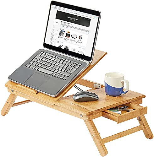Andrew James Bamboo Lap Tray With Legs   Portable Laptop Stand Table With Drawer and Adjustable Folding Legs To Use On Bed Desk Sofa Couch   Cooling Vents Prevent Overheating & Protect Your Devices