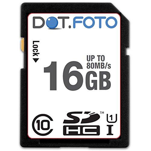 Dot.Foto Scheda di Memoria SDHC da 16 GB, Fino a 80 MB/Sec, Classe 10 UHS-1 per Casio EXILIM Ex-ZR/Ex-ZS Fotocamere [Vedere la Descrizione per la compatibilità]