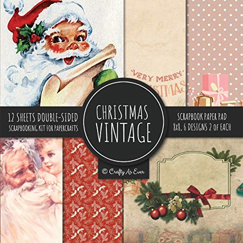Vintage Christmas Scrapbook Paper Pad 8x8 Scrapbooking Kit for Papercrafts, Cardmaking, DIY Crafts, Holiday Theme, Retro Design