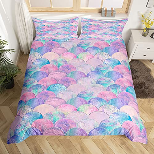 Erosebridal Fish Scales Comforter Cover Pink Mermaid Scales Pattern Colorful Bedding Sets Microfiber Duvet Cover Twin for Boys Girls 2 Pieces Ultra Soft Bedding Bedspread with Zipper Ties