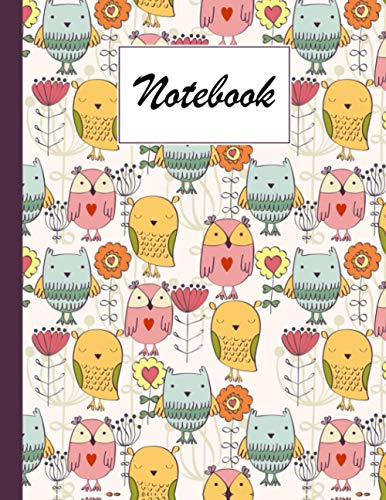 Notebook: Owls Composition Notebook - College Ruled 120 Pages - Large 8.5