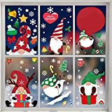 CCINEE 206PCS Christmas Gnome Window Cling,Xmas Tomte Gnome Elf Sticker Snowflake Santa Decal for Holiday Decoration