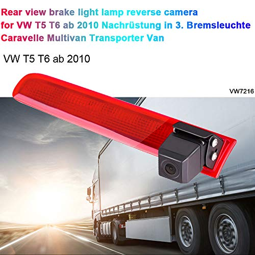 Auto Rückfahrkamera Einparkhilfe Farbkamera Rückfahrsystem Einparkkamera für Rückfahrkamera Transporter T5 T6 ab 2010 Nachrüstung in 3. Bremsleuchte Caravelle Multivan Transporter Van