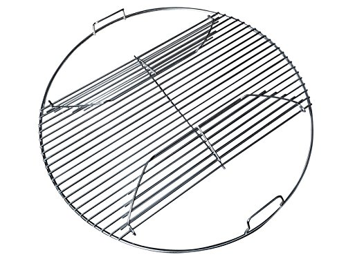 "GRILLVANA 22 Inch 201 Stainless Steel Hinged Grilling/Cooking Replacement 22"" Grill Grate - for use in 22' Weber Charcoal Grills - Kettle Charcoal BBQ Grilling Accessories"