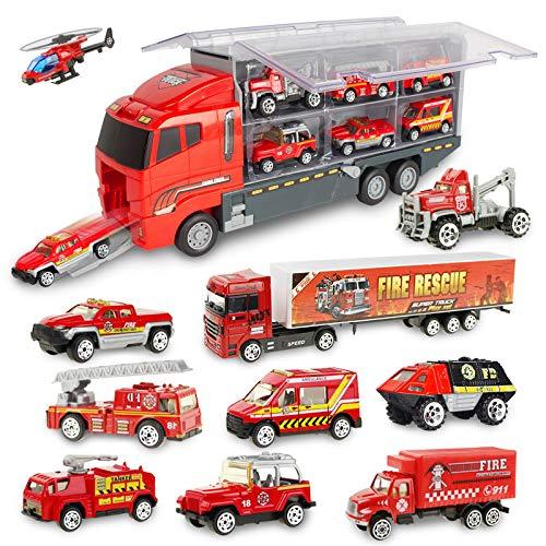Jenilily Voiture de Jouet, Voiture de Pompier pour Enfant, Mini véhicule en métal, Voiture de feu Miniature comme Cadeau d'anniversaire idéal pour Les Enfants