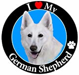'I Love My German Shepherd' White Car Magnet With Realistic Looking German Shepherd Photograph In The Center Covered In UV Gloss For Weather and Fading Protection Circle Shaped Magnet Measures 5.25 Inches Diameter