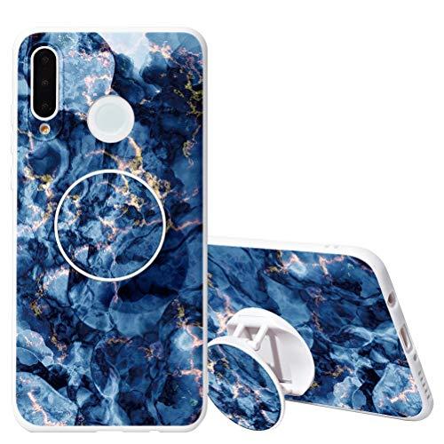 Capa KAPUCTW para Samsung Galaxy A50 com suporte de aderência, Samsung Galaxy A50 Slim Silicone à prova de choque TPU capa traseira com desenho de flor de mármore fofo para meninas e mulheres, rocha branca