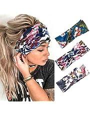 Edary Boho elastische bedrukte hoofdbanden rekbare haarbanden workout hoofddoek tulband haar sjaal yoga zweetband voor dames en meisjes (Pack van 3)