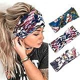 Edary Boho-Yoga-Stirnbänder, geknotete Haarbänder, Turban, gedrehtes Kopftuch, elastisches Kopftuch, Lauf-Zubehör für Mädchen und Damen (3)