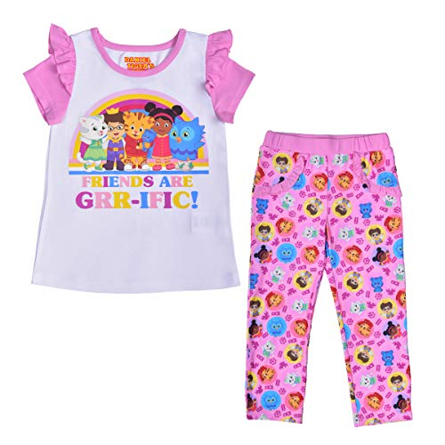 Daniel Tiger Shirt and Legging Set for Girls, Matching Short Sleeve Tee and Pants with Pockets, Size 4T White