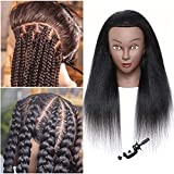 Black Mannequin Head with Human Hair for Braiding 16' 100% Real Hair Mannequin Head Cosmetology Mannequin Head with Hair Doll head for Hair Styling Free Table Mannequin Stand(16')