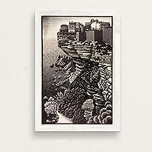 Escher Surrealisme Geometrische Art Hoogwaardige Canvas Olieverf Poster Kinderkamer Decoratie Muurschildering Zonder Frame...