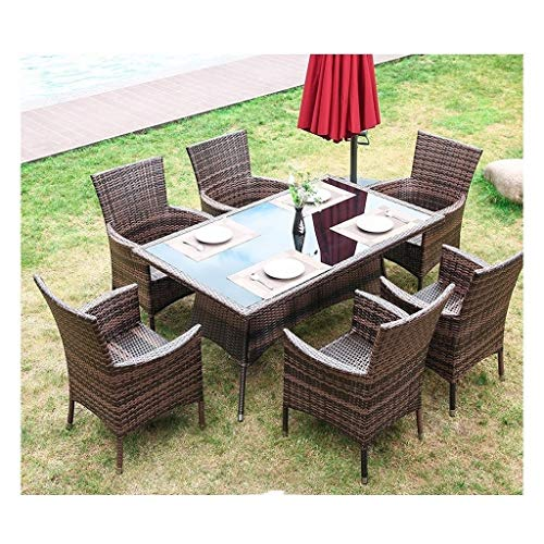 HLZY Muebles de Vida al Aire Libre Mesa de café de Muebles de ratán Muebles de jardín Patio al Aire Libre Familia Césped Muebles de Exterior Patio conversación al Aire Libre (6 Piece Set Silla Tabla)