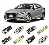 BRISHINE White Interior LED Lights Kit for Mazda 3 Sedan 2014 2015 2016 2017 2018 Super Bright 6000K LED Interior Light Bulbs Package + License Plate Lights and Install Tool