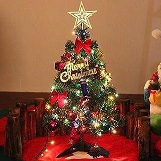 Dream Loom Árbol de Navidad de Mesa de 60cm, Mini árbol de Pino de Navidad Artificial con Luces de Cadena LED y Adornos (Árbol de Navidad)
