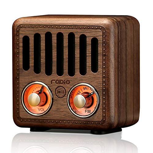 Retro FM Radio Vintage Bluetooth Speaker Walnut Wood 800mAh Rechargeable Battery with Best Sounds, Lovely Apperance, Support Bluetooth, AUX, TF Card