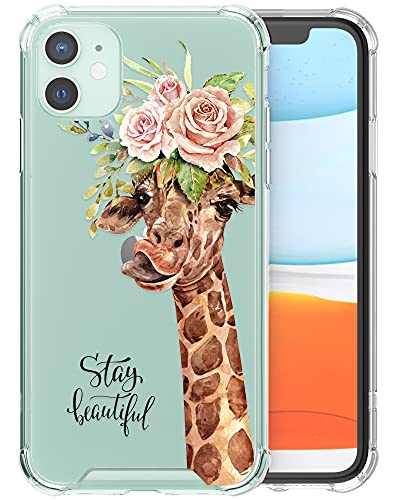 Cell Phone Case Animal Floral Compatible with iPhone 11 6.1 inch for Women Clear Thin Slim Cover with Protective Hard Shell and Soft Bumper (Rose Crown Giraffe)