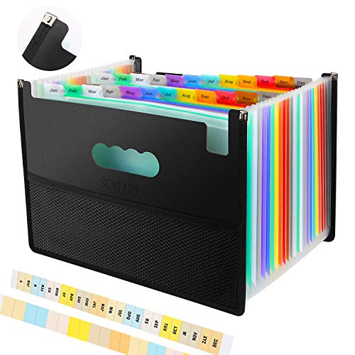 Expanding File Folders with Mesh Bag, 24 Pockets Accordian File Organizer, Expandable File Box with Cloth Edge Wrap, Portable Accordion File Organizer, Filing Box A4 Letter Size for Office, School
