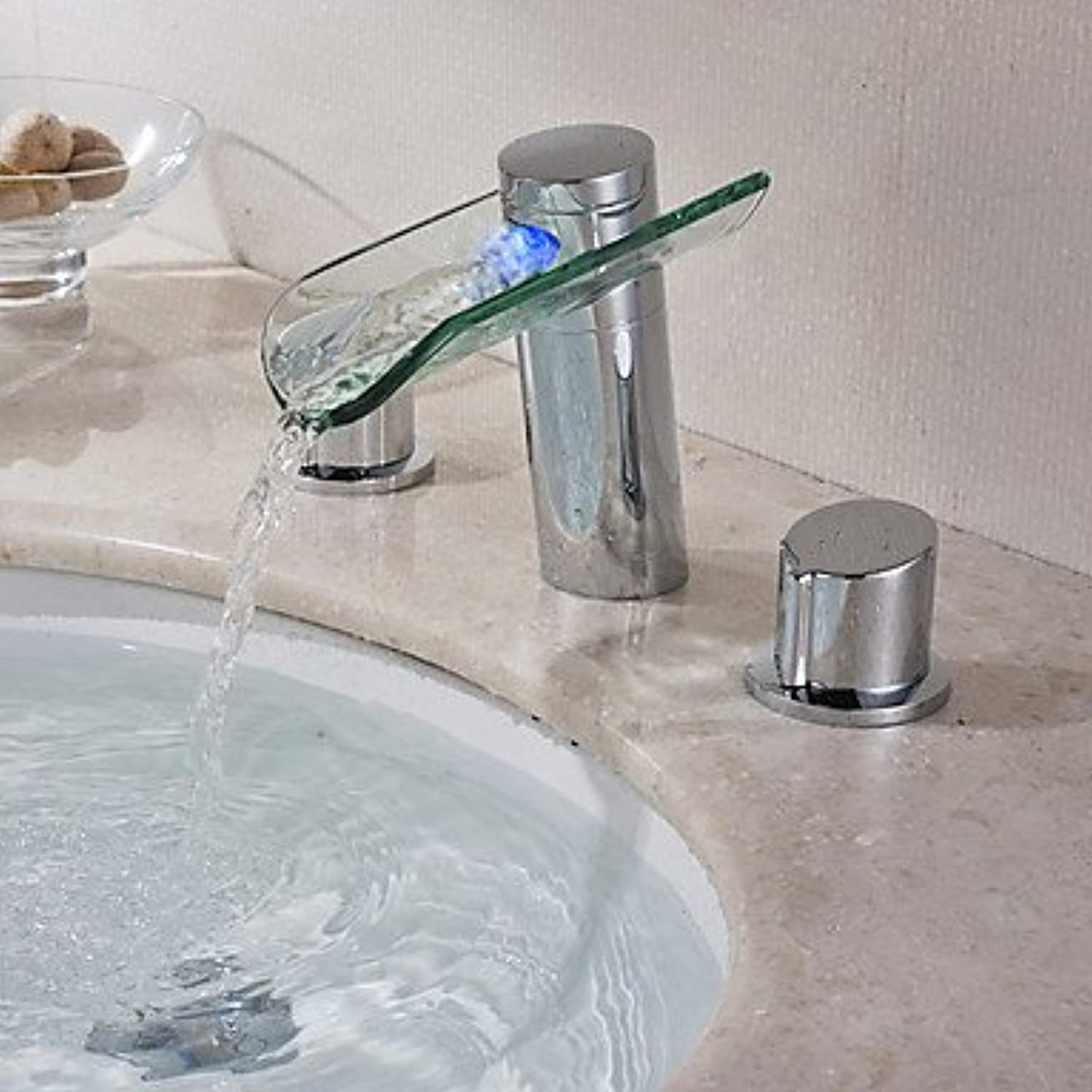 HFaucet? Two Handles Chrome Finish color Changing LED Waterfall Widespread Bathroom Sink tap