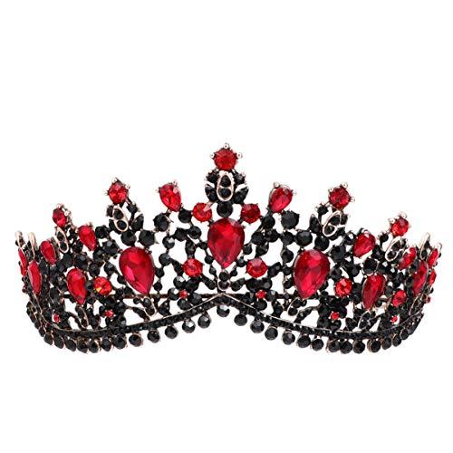 Lurrose Braut Barock Vintage Roten Kristall Strass Kronen Kopfbedeckung Braut Hochzeit Haarschmuck Schmuck Braut Diademe Prinzessin Königin Kronen