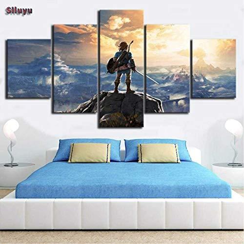 Siluyu Decoración De Pared 5 Piezas The Legend of Zelda Breath of The Wild Videojuego Poster HD Impreso Canvas Art Wall Pictures para Sala De Estar Marco