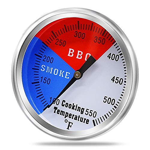 Criditpid 2inch BBQ Thermometer Smoker Temperature Gauge Grill Thermometer for Charcoal Grill Pit Smoker Meat Cooking, Universal Temp Gauge Smoker Thermometer with Fahrenheit and Heat Indicator