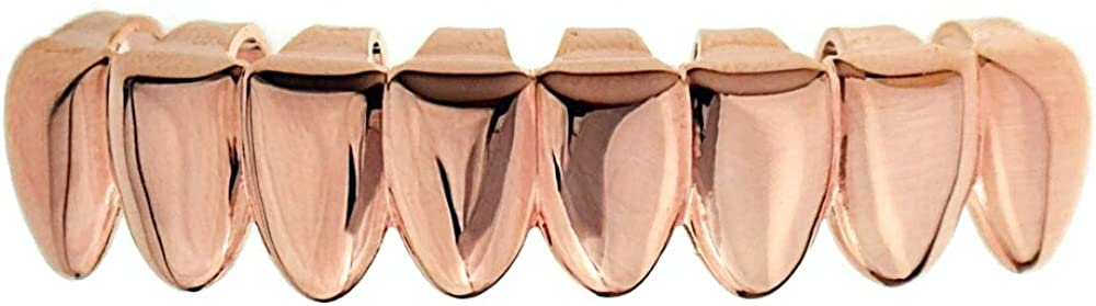 Bottom Eight Tooth Grillz 14k Rose Gold Plated Lower Row Slugs Plain 8 Teeth Hip Hop Grills