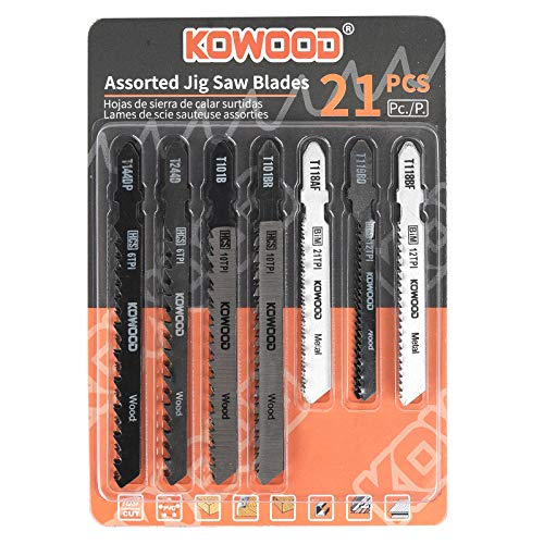 Jig Saw Blades 21pcs,Assorted Professional Saw Blades for Wood and Metal by KOWOOD