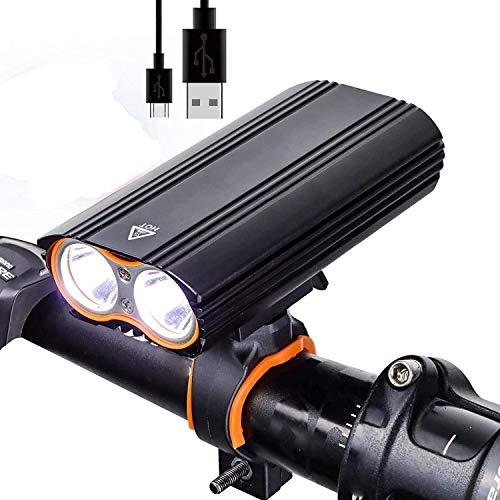 Fahrradlicht Fahrrad Licht Fahrradbeleuchtung Fahrradlicht, USB wiederaufladbar 2400 Lumen super helle Fahrrad Light ip65 wasserdicht led vorne Scheinwerfer for Radfahren Sicherheit FFVWVGGPAA714