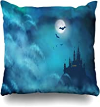 Ahawoso Decorative Throw Pillow Cover Sky Blue Nightly Castle Hill Night Holidays Artistic Bat Cloud Design Horror Home Decor Zippered Square Size 20