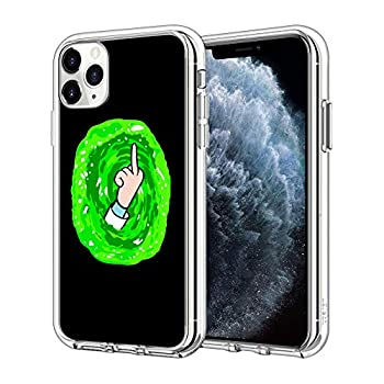 iPhone 12 Case iPhone 12 Pro Case Green Vertical Middle Finger Pattern Clear Design Transparent Plastic Back Case Cover Explosion-Proof