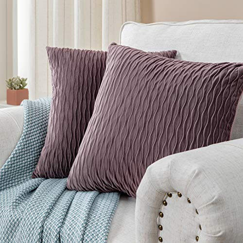 CUTEWIND 20×20 Inch Set of 2 for Bedroom Car Decor Purple Grey Pillow Shams Sofa Throw Pillow Covers Soft Dutch Velvet Solid Decorative Square Cushion Cases 50×50 cm(2 Pieces, Purple Grey)