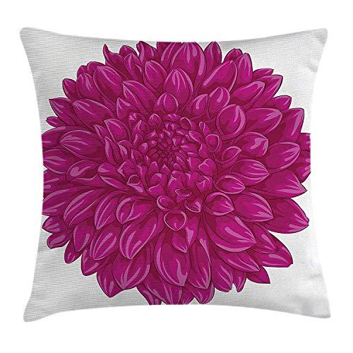 Dahlia Bloemendecoratie, kussensloop, grote grote platte schaarse bloemen met buitenwaartse pompons, vintage fuchsia-thema, decoratieve vierkante kussensloop, 18 x 18 inch, roze