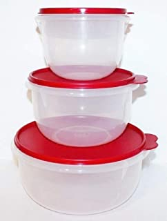 Tupperware Set of 3 Mixing Bowls Classic Flat Bottom Style Red Seals