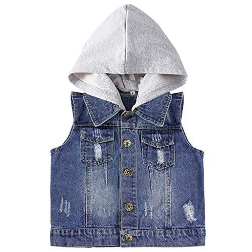 JiAmy Baby Jungen Jeansjacke Weste Kinder Jeansweste Kapuze ärmellose Weste Mantel Mädchen Blue Jeans Kleidung Frühling Herbst Vest 90 cm
