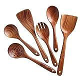 Fikujap Utensilios de Cocina de 6 Piezas de Madera Juego de Utensilios de Cocina batería de Cocina Herramienta de Cocina Utensilios de Cocina Conjunto de Utensilios de Cocina Antiadherente Resistente