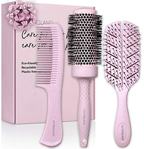 Bio Haarbürsten Set für Damen   recycelbare Paddle Brush, Rundbürste und Haarkamm   nachhaltige Geschenke von Lily England