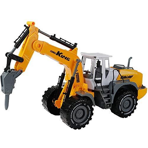 ROCK1ON ABS Mobilbagger Bagger Mit Bohrer Miniatur Motorfahrzeug Modelle im Maßstab Baufahrzeug Spielzeug Strandspielzeug Geschenk für Kinder Junge