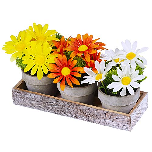 Set of 3 Artificial Daisy Flowers in Pots Orange Yellow White Silk Sunflower Mini Potted Plants Arrangement with Wood Planter Box for Spring Summer Indoor Office Tabletop Dcor Wedding Centerpiece