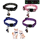 SYOOY 4 Pack Breakaway Cat Collar with Bell Stars Golden Moons Glow in The Dark Adjustable Kitten Collars with Pendant for Cats Puppy