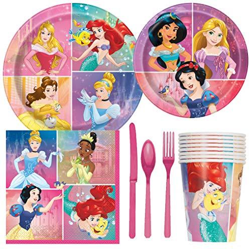 Paquete de suministros para fiesta de cumpleaños con diseño de princesas de Disney, incluye platos para tartas y almuerzo, cubiertos, tazas, servilletas (8 invitados)