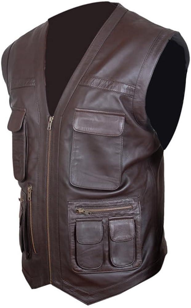 coolhides Men's Fashion Brown Leather Vest, Xs-5xl