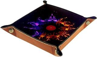 BestIdeas Panier de rangement carré 20,5 × 20,5 cm, avec disque vinyle dans le feu Violet doré, boîte de rangement sur tab...