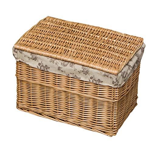 Cesta de lavandería tejida a mano, de ratán natural con bolsa de forro extraíble, cesta de almacenamiento de ropa con tapa, gran capacidad, natural (color: natural, tamaño: S)