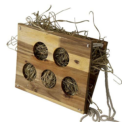 Comedero de madera para conejos y comida, hecho a mano, dispensador de heno y alimento, soporte para jaula para conejos, cobayas, chinchilla y animales pequeños
